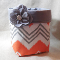 Gray, Orange And White Chevron Fabric Basket With Detachable Fabric Flower Pin