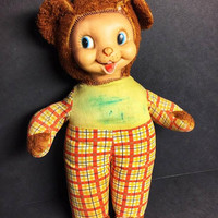 Vintage- 1950s or Earlier- Gund Rubber Face Teddy Bear-Same Era as Rushton