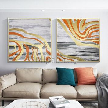 Gold leaf 2 pieces Modern abstract Acrylic painting on canvas original art gray painting large Wall Art wall pictures cuadros abstracto