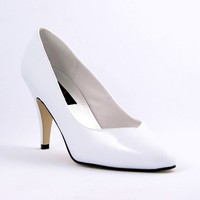 White Patent Pointed Toe Pump Heels