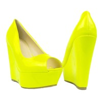 Womens Platform Sandals Patent Leather Peep Toe Wedge High Heel Shoes Yellow