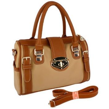 BRADLEY Dual Tone Brown Doctor Style Double Handle Satchel Handbag Purse Hobo Tote Bag w/Shoulder Strap