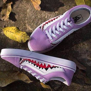 ONETOW Sale BAPE x Vans Old Skool Custom 17ss SHARK MOUTHS Low Purple Sneakers Convas Casual Shoes XH52 OS