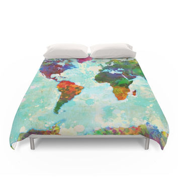 Society6 Abstract Watercolor World Map Duvet Cover