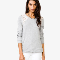 Lace Trim French Terry Pullover | FOREVER21 - 2021604951