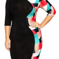 Plus Size Round Collar Half Sleeve Dress
