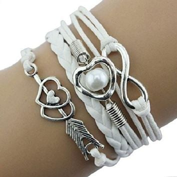 DCCKV2S Doinshop New Infinity Chain Cuff Jewelry Antique Leather Charm Bracelet