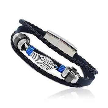 "EAGLE Wing Wire Wrapped Vintage Genuine Leather 3 Strand Unisex Bracelet 8.2"" Alloy NEW Magnetic Clasp Hematite Stunning Wristband Fashion Cuff for Men Women, Stylish 3-Tier Comfort Fit Band"
