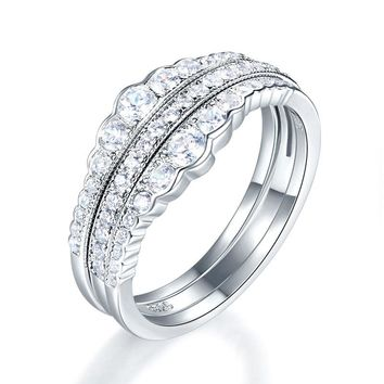 925 Sterling Silver Wedding Band Ring Set 3-Pieces Anniversary Simulated Diamond
