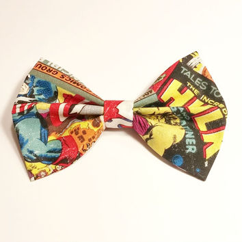 Comic Book Hair Bow • Marvel Fabric Bow • Spiderman Hair Bow • Geekery Hair Bow • Women's Fashion • Gifts For Women • Captain America Bow