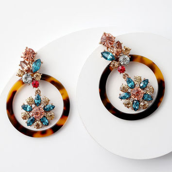 Luster and Light Tortoise Rhinestone Earrings