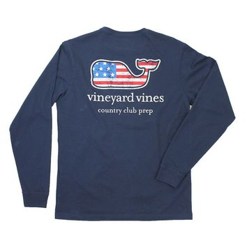Flag Whale Country Club Prep Long Sleeve Tee in Blue Blazer by Vineyard Vines - FINAL SALE