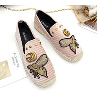 GUCCI new round head fashion casual bee single shoes female flat bottom comfortable fisherman shoes pink