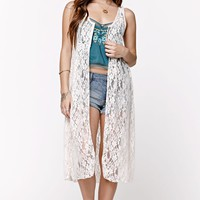 LA Hearts Allover Lace Maxi Kimono - Womens Shirts - White