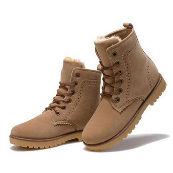 2016 new stylish winter Tube tooling womens boots with warm Korean cashmere Martin boots mens boots waterproof in winter