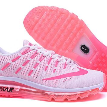 Tagre™ NIKE Trending Fashion Casual Sports Shoes AirMax Toe Cap hook section knited White pink soles