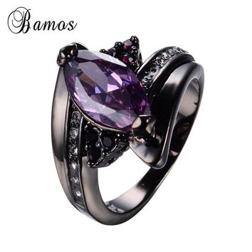 Purple Jewelry Horse Eye Purple Zircon Rings For Female Black Gold Filled Wedding Party Engagement Women Promise Ring RB0585