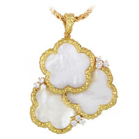 Chaumet Mother of Pearl Diamond Gold Brooch/Pendant Necklace