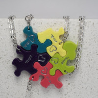 Puzzle Piece Necklace Set of 5  Best Friend Pendants Polymer Clay Bright Colors Set 165