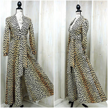 Leopard print jumpsuit /  Vintage 70s Sax Fifth Avenue Robes / Sexy / Palazzo pants / Loungewear / Party / Evening / Wide Leg / size XS S