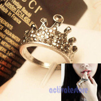 Korean Fashion Hot Trendy Lovely Crown Elegant Full Crystal Rhinestone Ring New