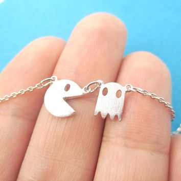 Namco PacMan & Ghost Arcade Game Themed Charm Necklace in Silver | DOTOLY