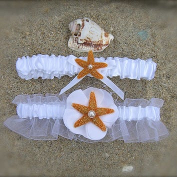 Wedding Starfish Garter Set-SUGAR STARFISH-Beach Weddings, Starfish Garter Set, Destination Weddings, Mermaids, Aqua Turquoise Blue