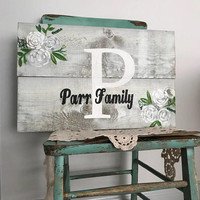 Family name sign monogram, rustic wood sign, wedding, anniversary gift, housewarming gift, bridal shower gift, floral sign wedding, last nam