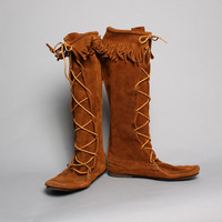 70s Men's MOCCASIN BOOTS / Fringed Suede MINNETONKA Boots, 12