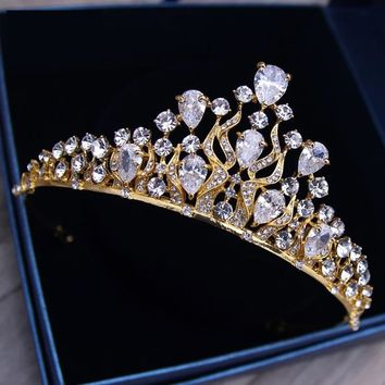 European Gold Tiaras Wedding Cubic Zircon Crystal Crowns Cosplay
