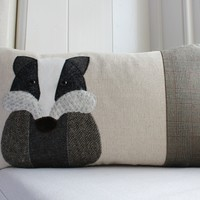 Handmade Badger cushion with linen and mixed tweed wools.