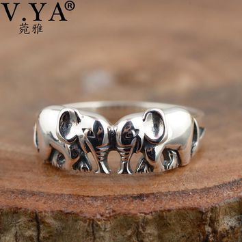 V.YA Cute Animal Elephant Rings 925 Sterling Silver Vintage Style S925 Jewelry