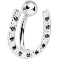 925 Sterling Silver Black Gem Hinged Horseshoe Belly Ring | Body Candy Body Jewelry