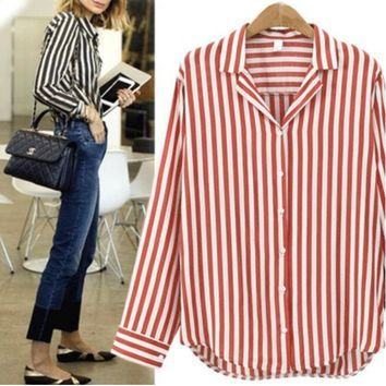 woman tops fashion Long-sleeved casual plus striped Loose linen blouse