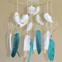 Native American Style, Tribal Nursery Mobile, Natural Feathers Dreamcatcher Mobile, Boho Feather Mobile, Grey and White Home Decor