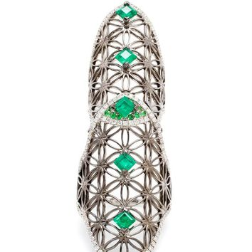 Semiramis Double Ring with Emeralds - DIONEA