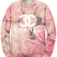 Oversized Rose Allover Print Sweatshirt