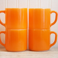 Orange, Anchor Hocking Mugs, set of 4, autumn home, fall decor, Thanksgiving Table decor, Hallowen decor