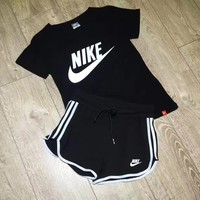 Casual Summer Round-neck T-shirts Shorts Sportswear Set [11923128531]