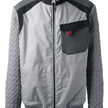 Moncler W Knitted Sleeve Bomber Jacket