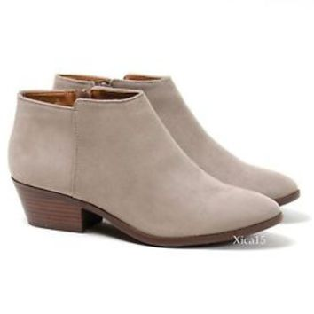 New Womens Low Chunky Heel Almond Toe Booties Zipper Ankle Boots Shoes 5.5-10