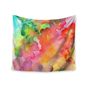 "Louise Machado ""Spring Colours"" Watercolor Floral Wall Tapestry"