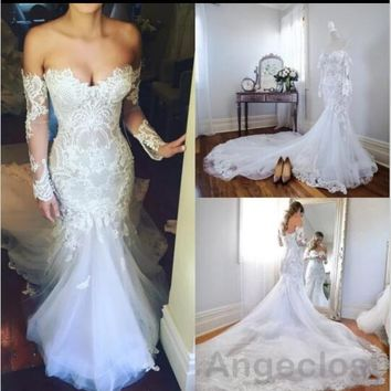 Eslieb High-end Custom made Lace Meramid Wedding Dresses Court Train Vestido de Noiva Bride Dresses wedding dress 2018