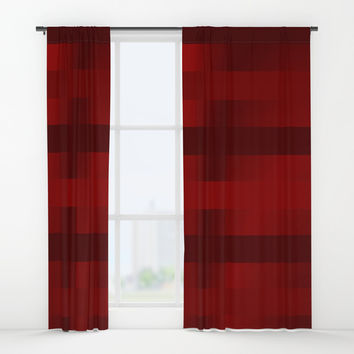 Shades of Deep Red Window Curtains by Colorful Art