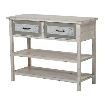 137-012 Sandall-Side Board With Drawers And Shelf In Antique Cream