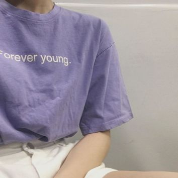2018 Korean Style Best Friends tv T shirts Women Purple White Aesthetic Style Tshirt Women Forever Young Letter Printed Tops