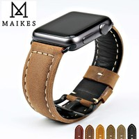 MAIKES New vintage watchbands watch accessories cow leather watch strap brown for Apple Watch Band 42mm 38mm series 2 1 iwatch