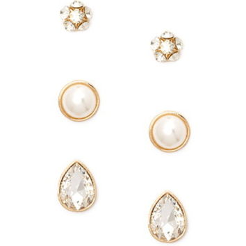 Faux Crystal Earring Set