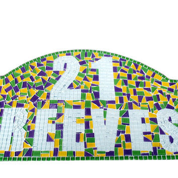 Custom Mosaic - Address Sign with Last Name - You Choose the Colors
