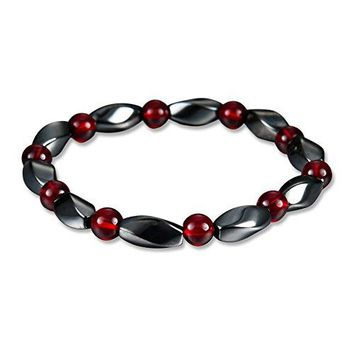 Yamao Hematite Bracelet Healing Magnetic Therapy Stone Beaded Stretch Bracelets for Women Men bl002
